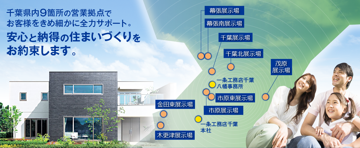 千葉県内9箇所の営業拠点でお客様をきめ細かに全力サポート。安心と納得の住まいづくりをお約束します。