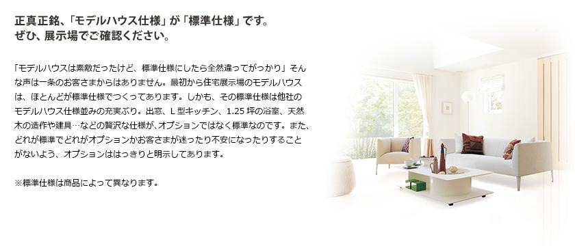 正真正銘、「モデルハウス仕様」が「標準仕様」です。ぜひ、展示場でご確認ください。
